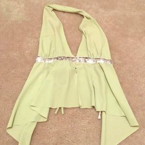 Tops - Lime halter sequin crop top. Size Small
